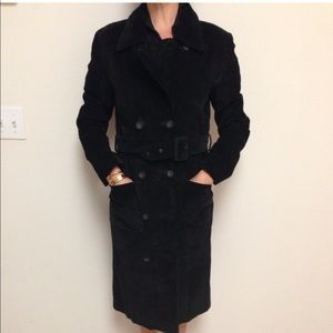 Long Black Suede Coat